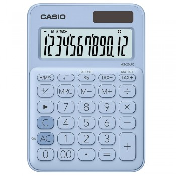 Casio Colourful Calculator - 12 Digits, Solar & Battery, Tax & Time Calculation, Light Blue (MS-20UC-LB)