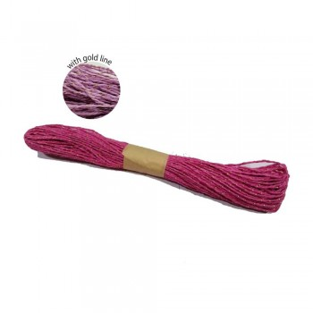 Colorful Paper Rope 25meters with Gold Line - Hot Pink