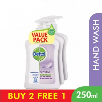 Dettol Hand Wash Sensitive 250ml x 3 Value Pack