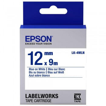 Epson 12mm Blue on White Tape C53S654503 (Item No: EPS LK-4WLN)