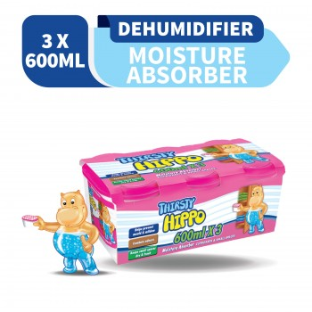 Thirsty Hippo Dehumidifier Moisture Absorber 600ml x3 (Value Pack)