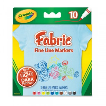 Crayola 10ct Fine Line Fabric Markers - 588626