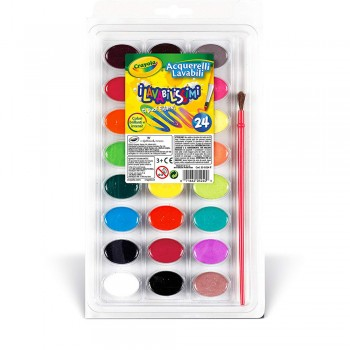 Crayola 24ct Wash Water Color With Paint Brush - 530524