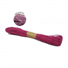 Colorful Paper Rope 25meters with Gold Line - Pink