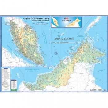 "Map Of Malaysia M206 – East & West (Laminated) H42"" x W58"""