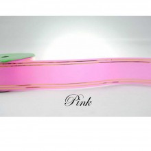 Ribbon Paper With Gold Line 25m Pink